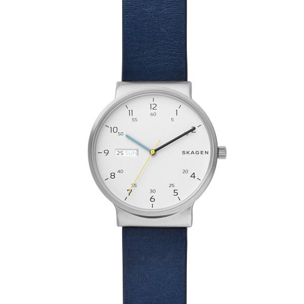 Skagen Ancher armbåndsur i stål med hvid skive og blå rem