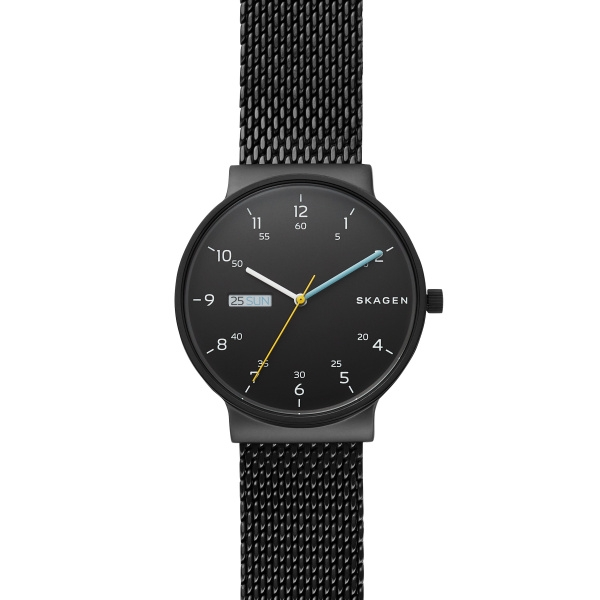 Skagen Ancher armbåndsur i stål med sort skive og lænke