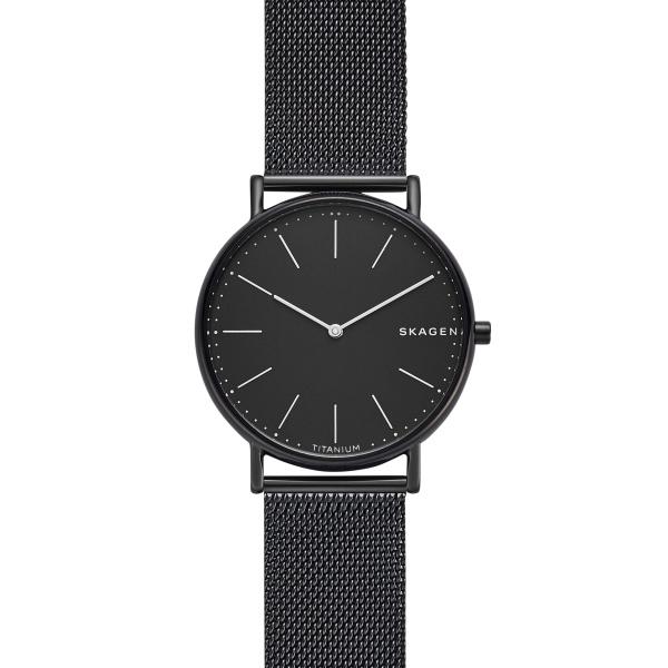 Billede af Skagen Signatur armbåndsur i titanum med sort skive og sort meshlænke
