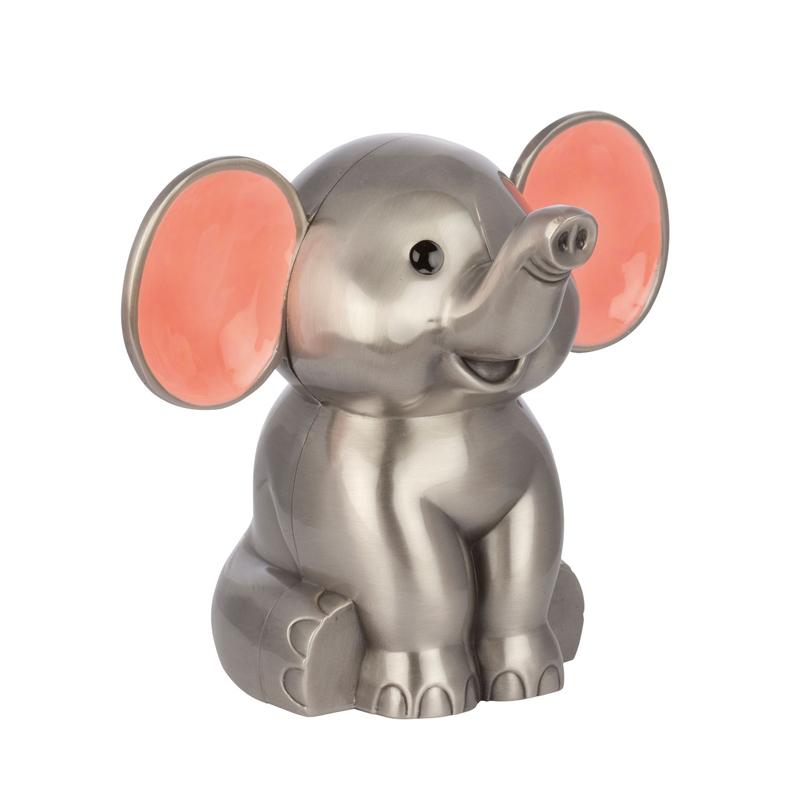Image of   Sparebøsse Elefant, fortinnet med pink emalje