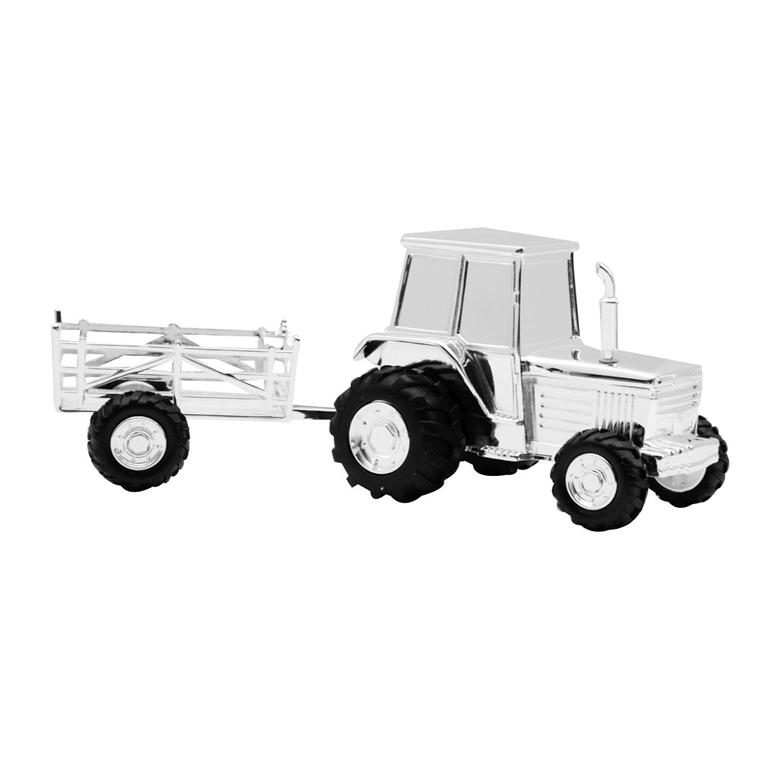 Image of   Sparebøsse Traktor m. vogn, sølvplet