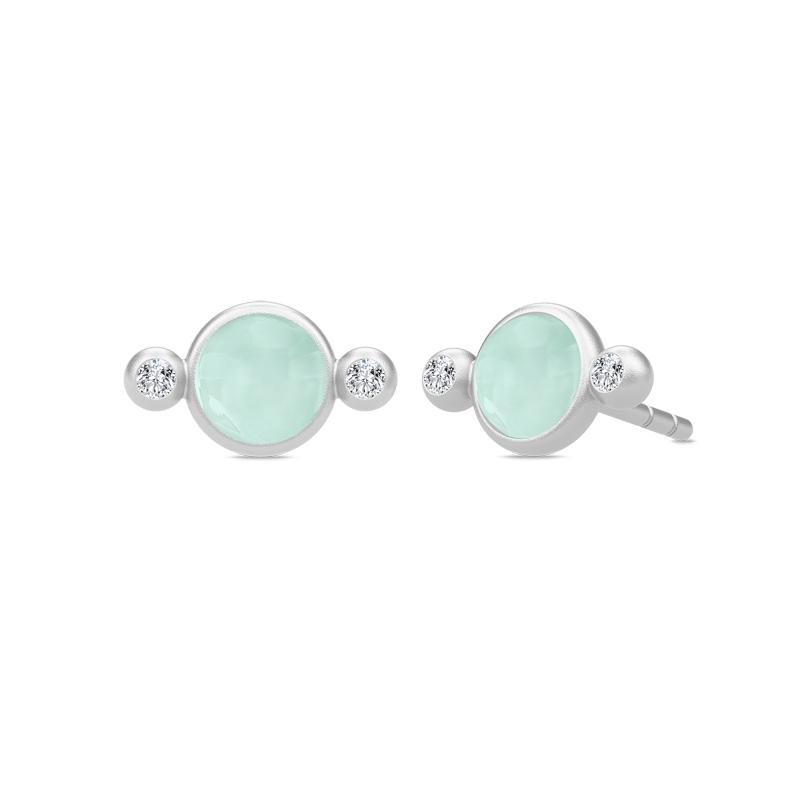 Julie Sandlau Prime ørstikker i sølv med lysegrøn krystal - limited edition