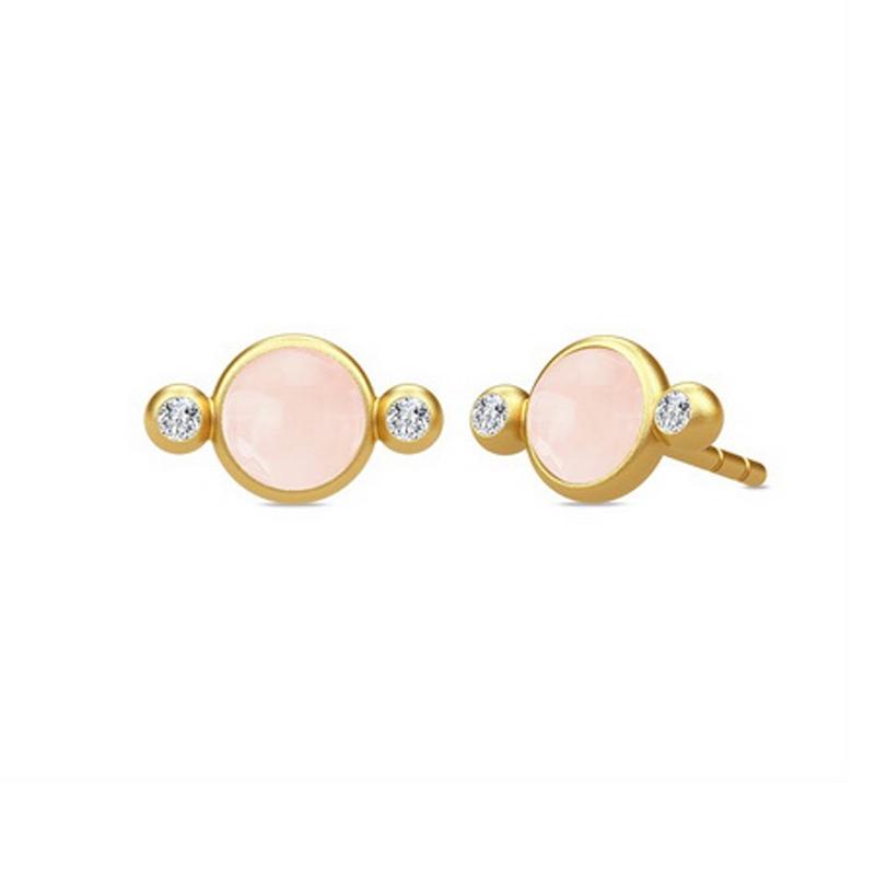 Julie Sandlau Prime ørstikker i forgyldt med lyserød krystal
