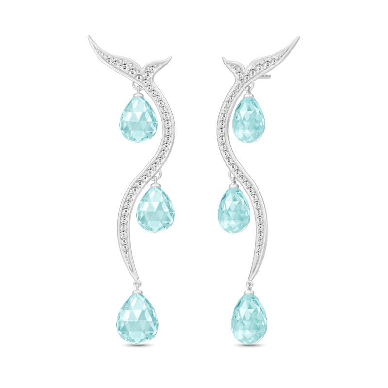 Julie Sandlau Mermaid Chandelier øreringe i sølv med aquamarin og zirkoner