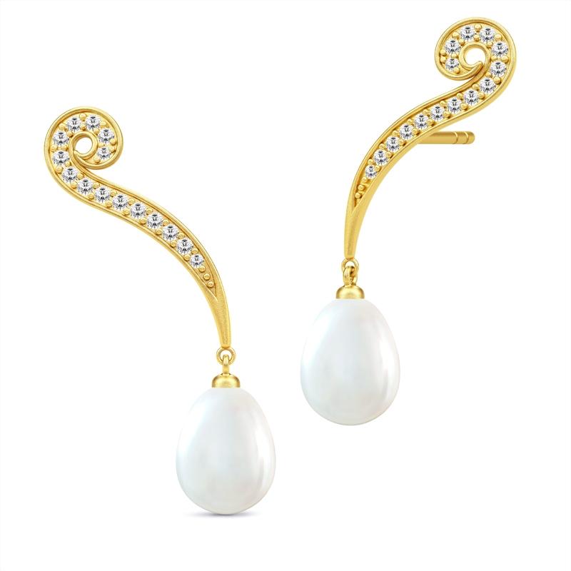 Julie Sandlau Ocean forgyldte ørehænger med hvid perle og cubic zirkoner