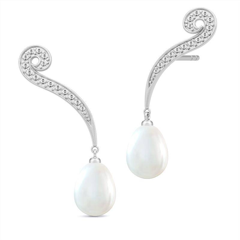 Julie Sandlau Ocean sølv ørehænger med hvid perle og cubic zirkoner