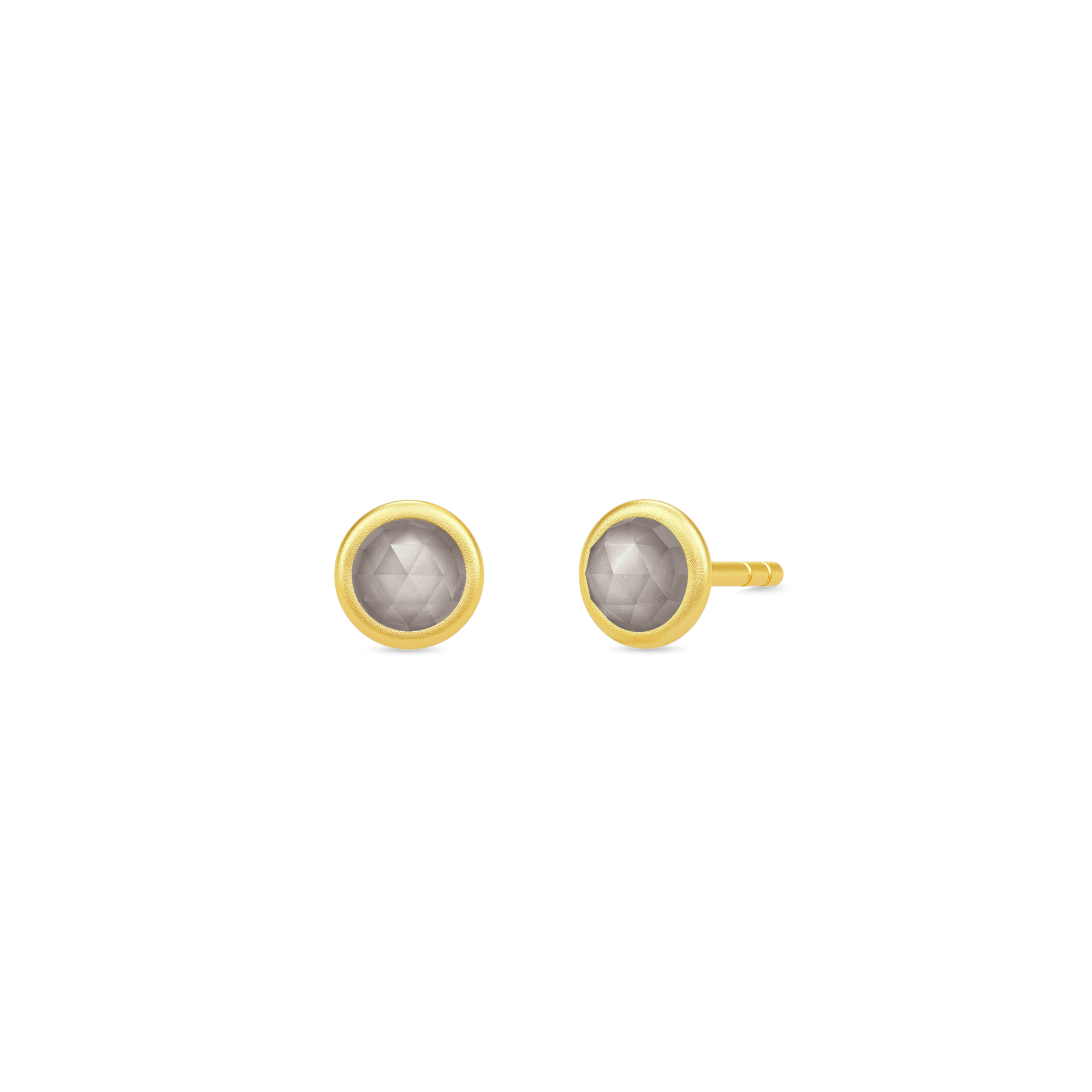 Julie Sandlau Moon ørestikker i forgyldt med grå månesten