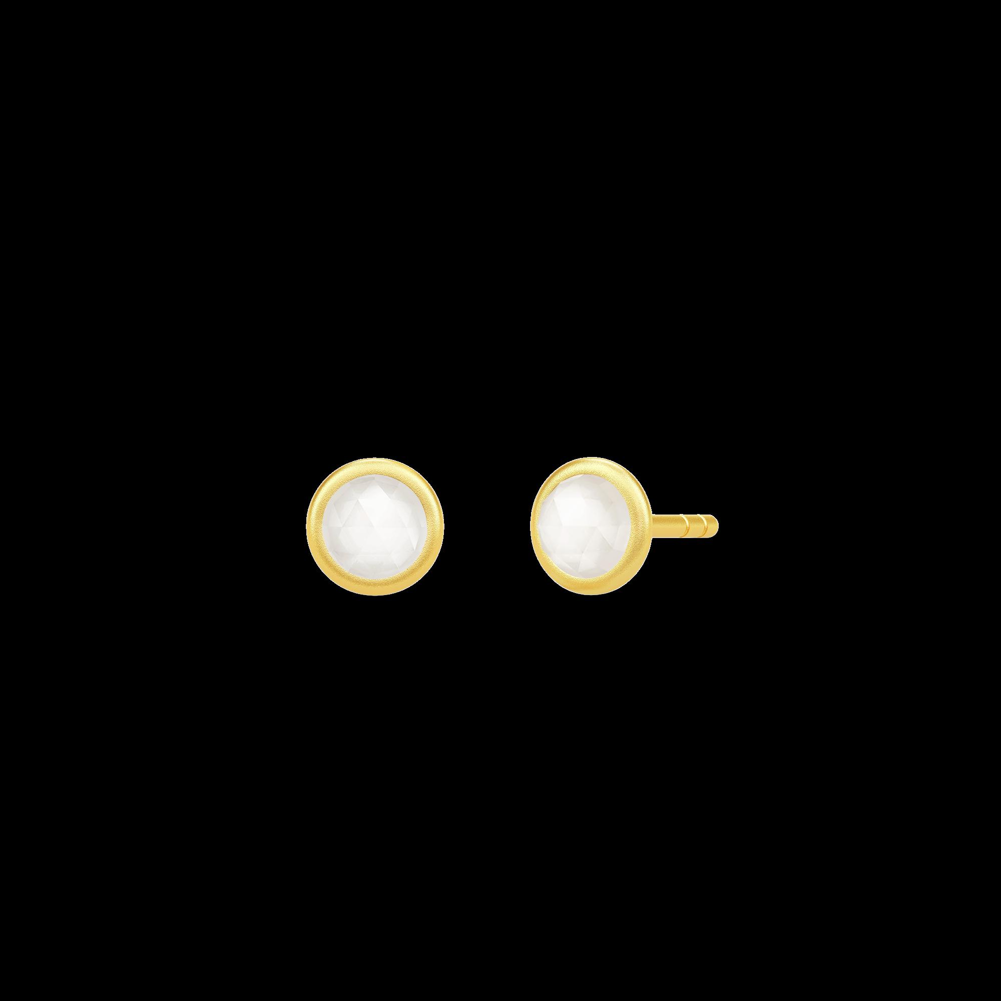 Julie Sandlau Moon ørestikker i forgyldt med hvid månesten