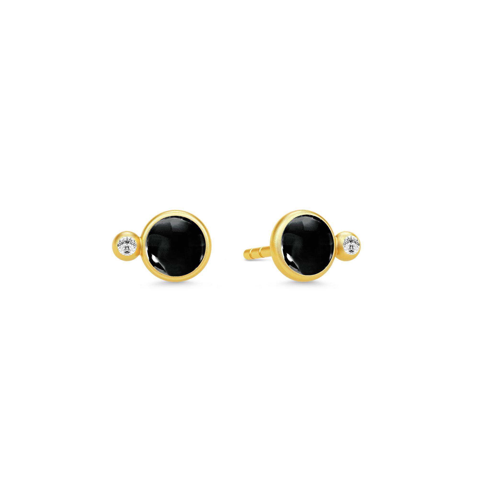 Image of   JulieSandlau Prime ørestikker i forgyldt med sort krystal og zirkon