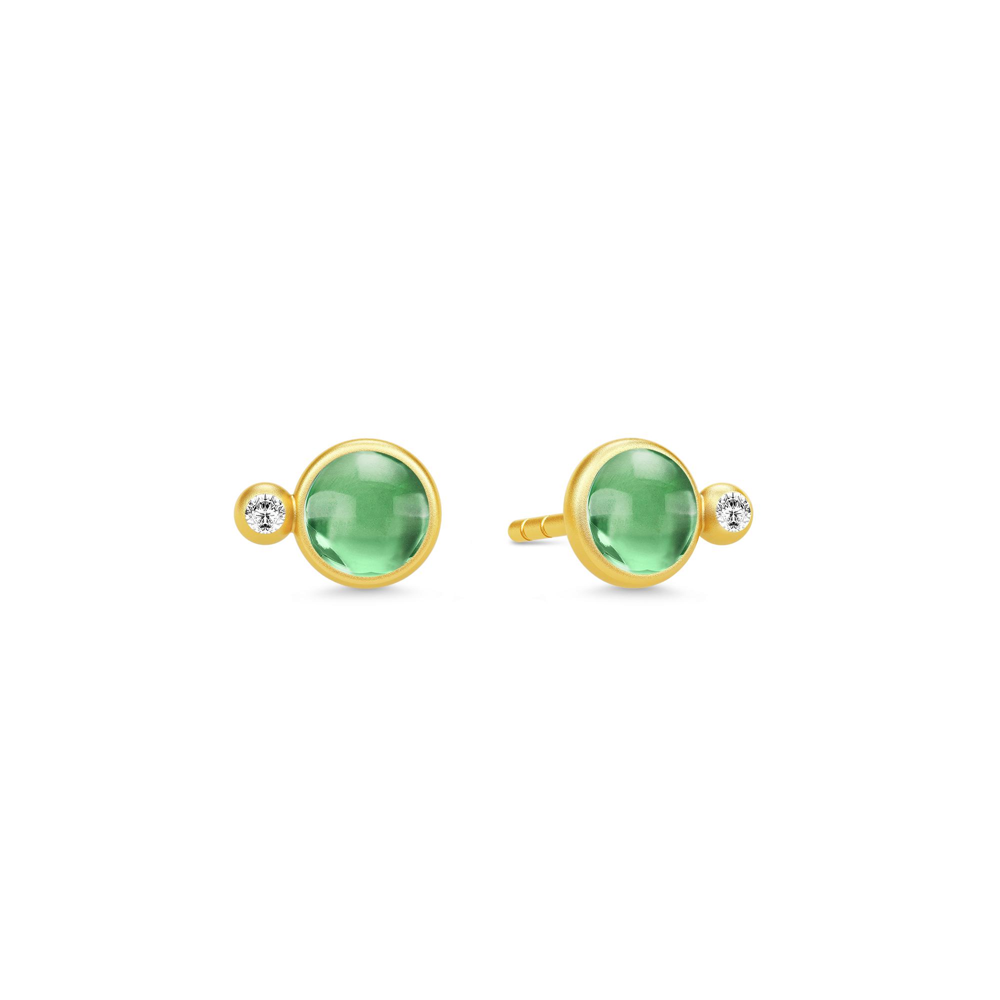 Image of   JulieSandlau Prime ørestikker i forgyldt med grøn krystal og zirkon