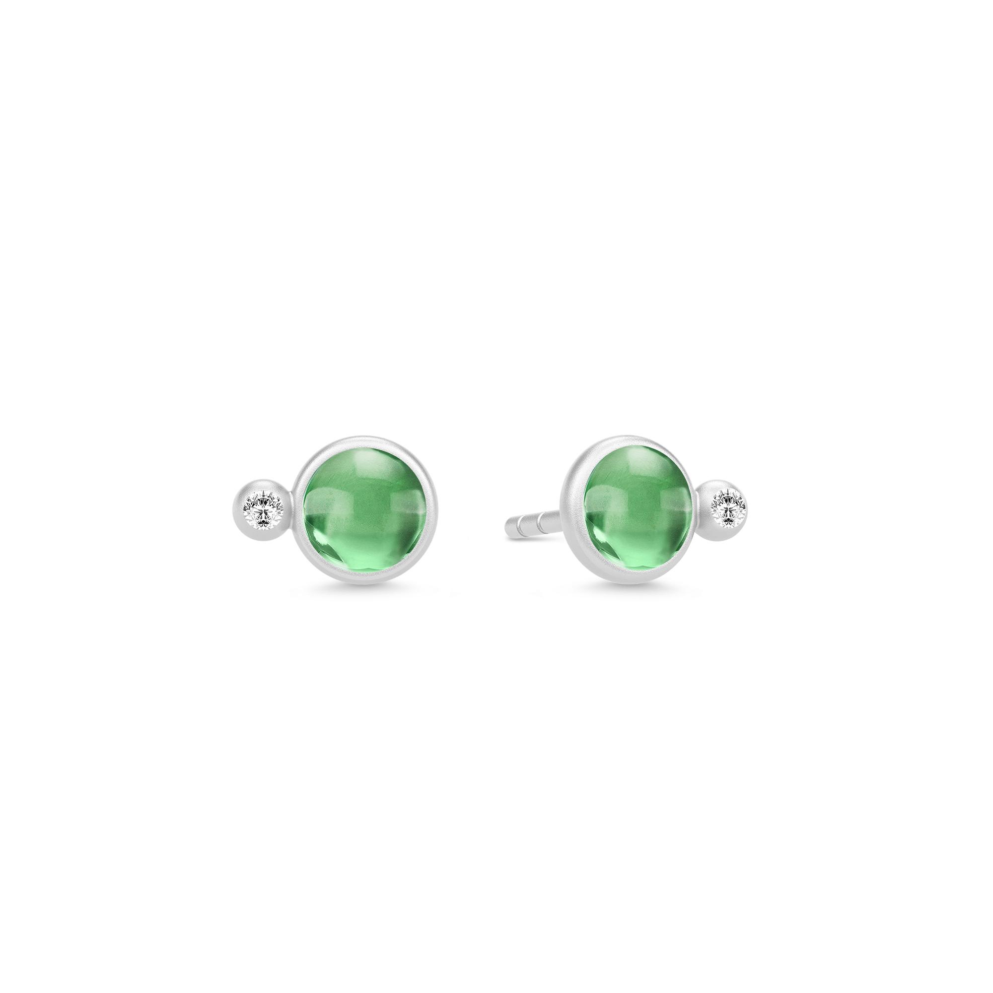Image of   JulieSandlau Prime ørestikker i sølv med grøn krystal og zirkon