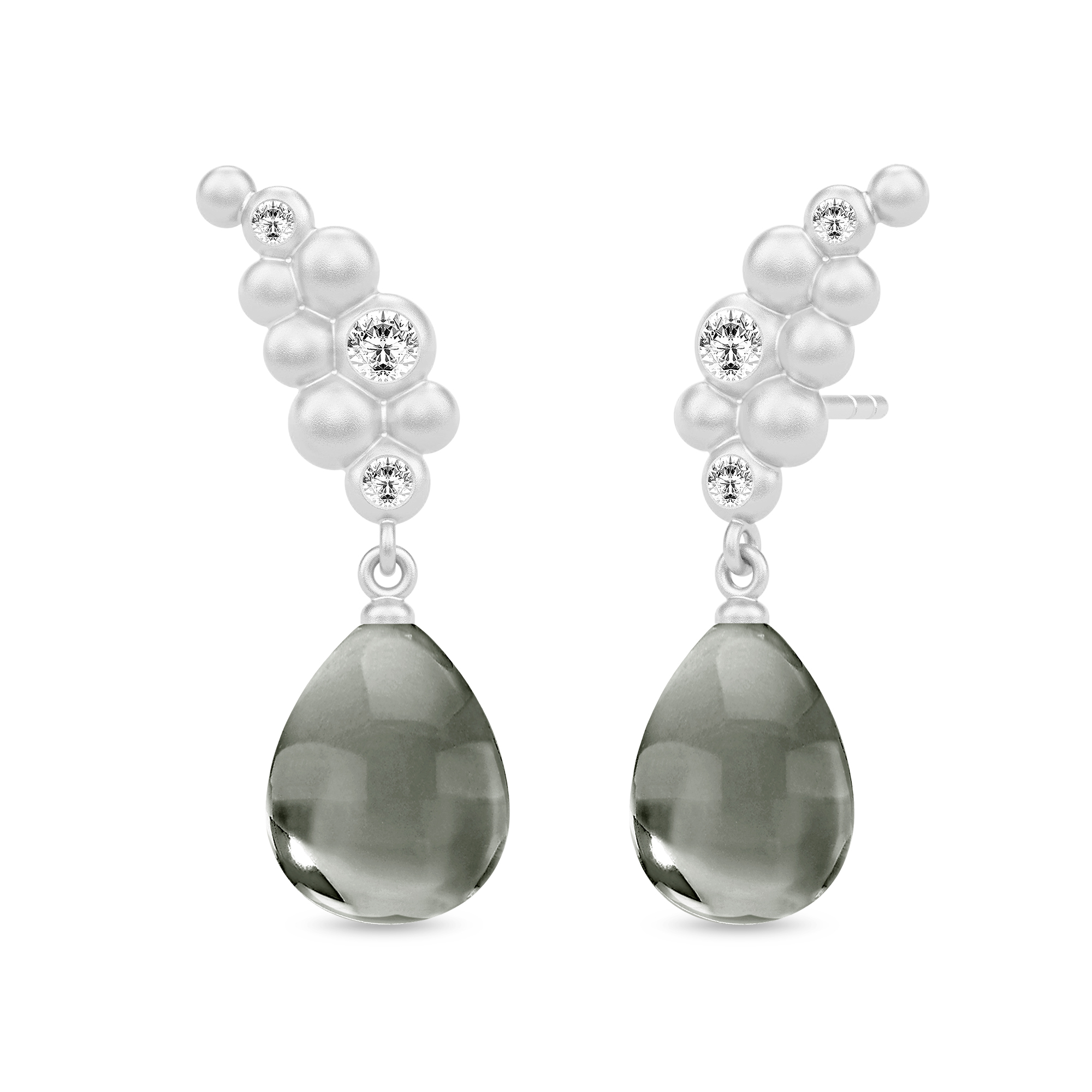 Image of   Julie Sandlau Bloom ørehængere i sølv med grå krystal