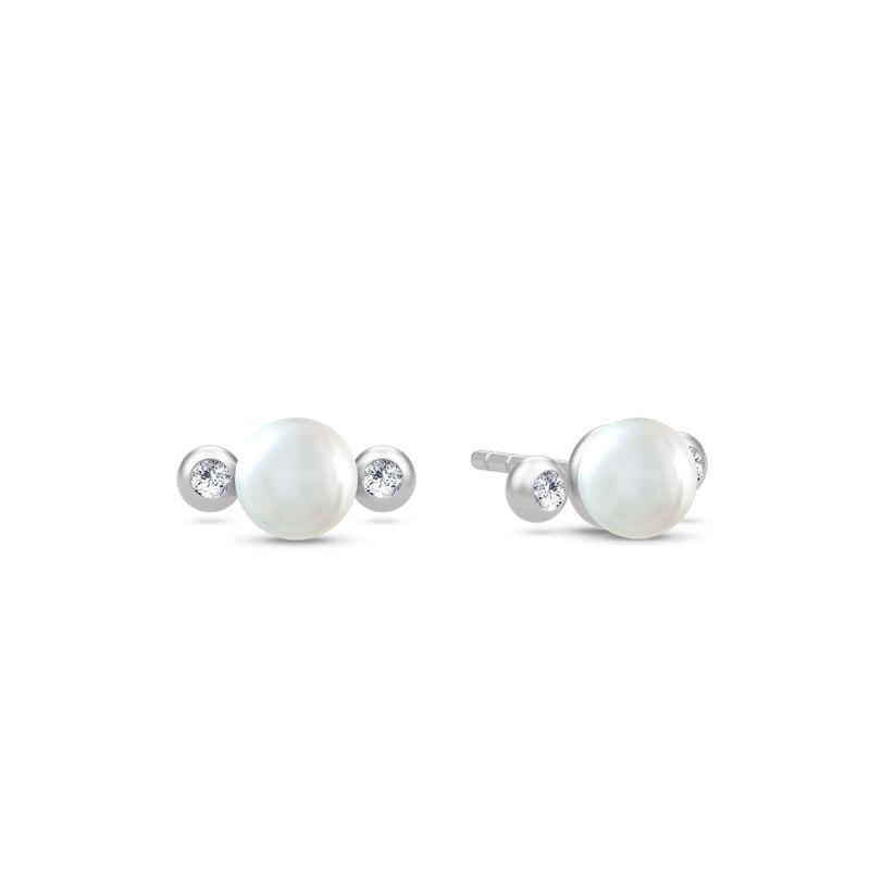 Julie Sandlau Perla ørestikker i sølv med perler og cz