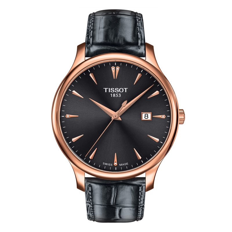 Image of   TISSOT Tradition armbåndsur i rosa/gylden med diamanter og sort rem