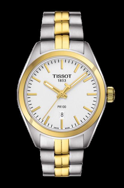Tissot PR 100 Classic armbåndsur i stål/forgyldt med lænke Ø 33mm