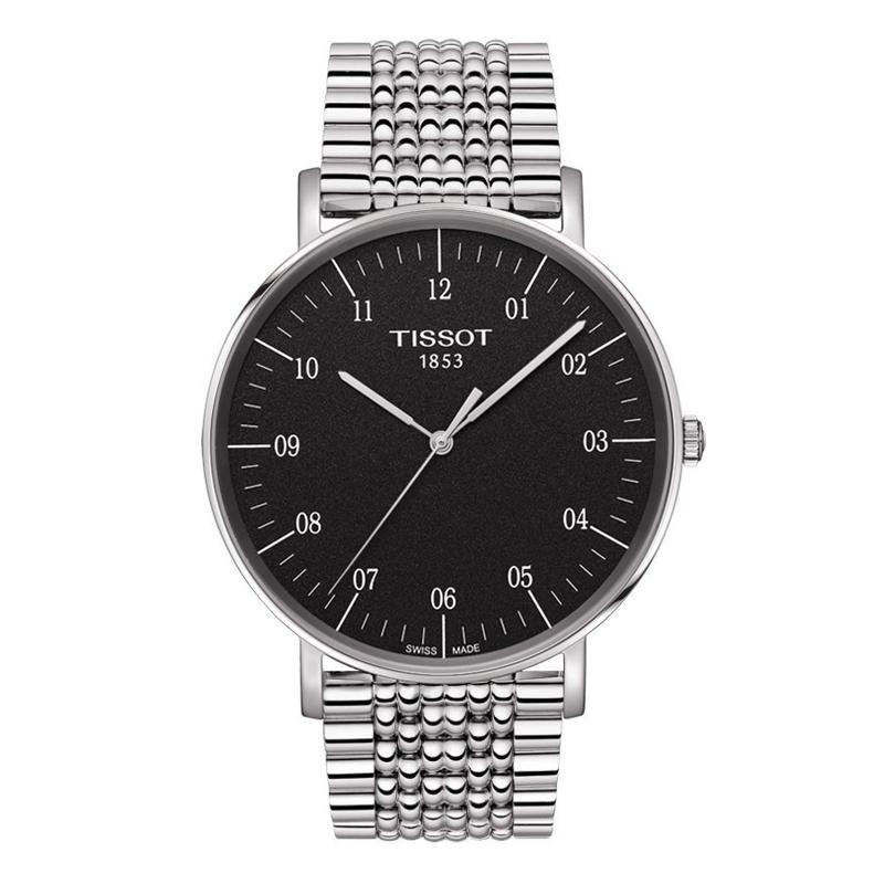 Image of   TISSOT Everytime stål armbåndsur med sort skive og lænke