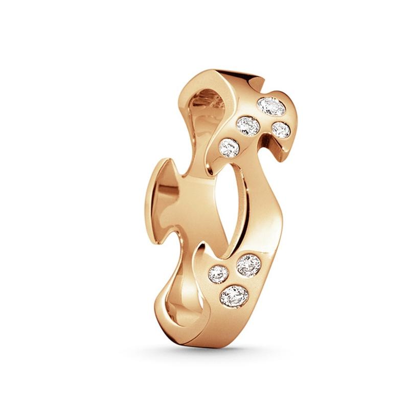 Georg Jensen Fusion midterring 1368C, 18 kt. rosaguld med 8 diamanter