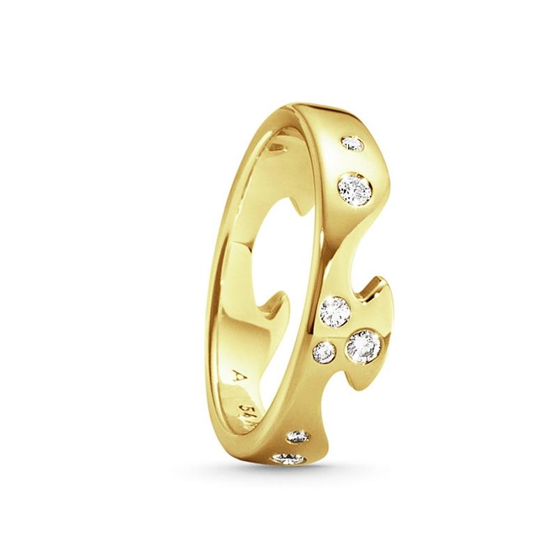 Image of   Georg Jensen Fusion endering 1368, 18 kt. rødguld med 8 diamanter