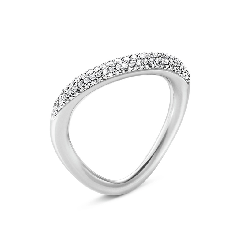 Georg Jensen Offspring sølv ring diamant pave str. 4 (54-55)