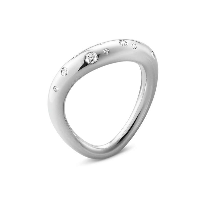Georg Jensen Offspring sølv ring med diamanter