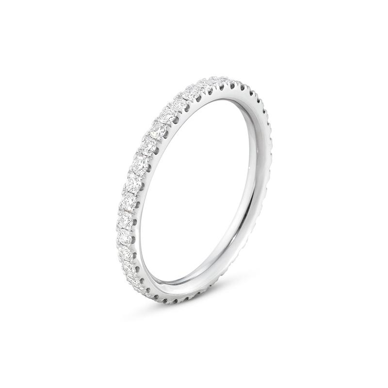 Georg Jensen Aurora ring i 18 kt hvidguld med diamanter, mellem størrelse
