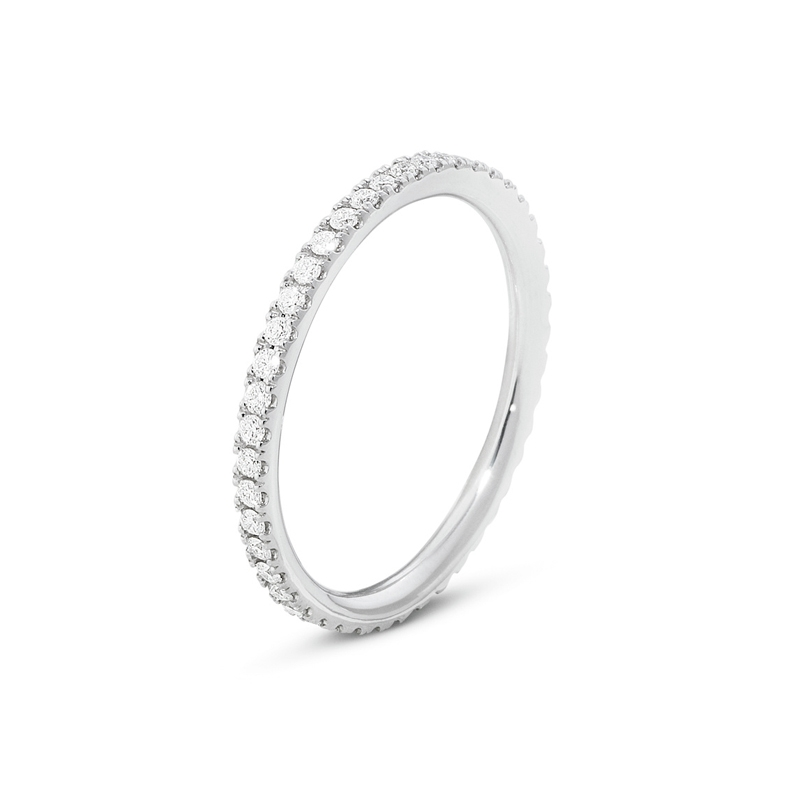Georg Jensen Aurora ring i 18 kt hvidguld med diamanter, smal model