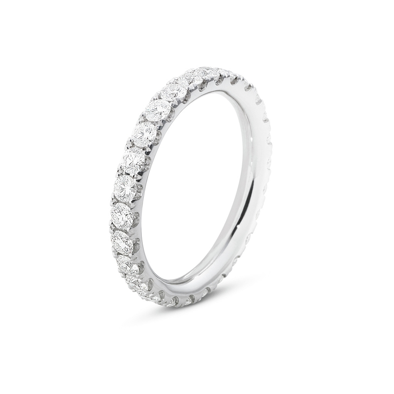 Georg Jensen Aurora ring i 18 kt hvidguld med diamanter, stor størrelse