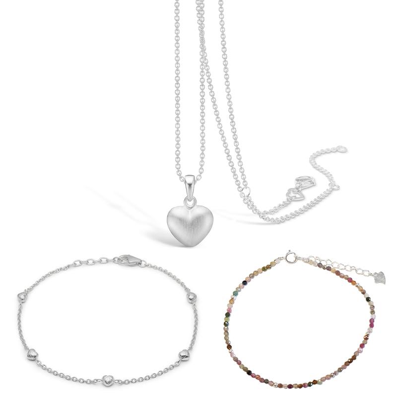 BLOSSOM Valentinsgavesæt sølv hjerte vedhæng, sølv armbånd og multi stenarmbånd