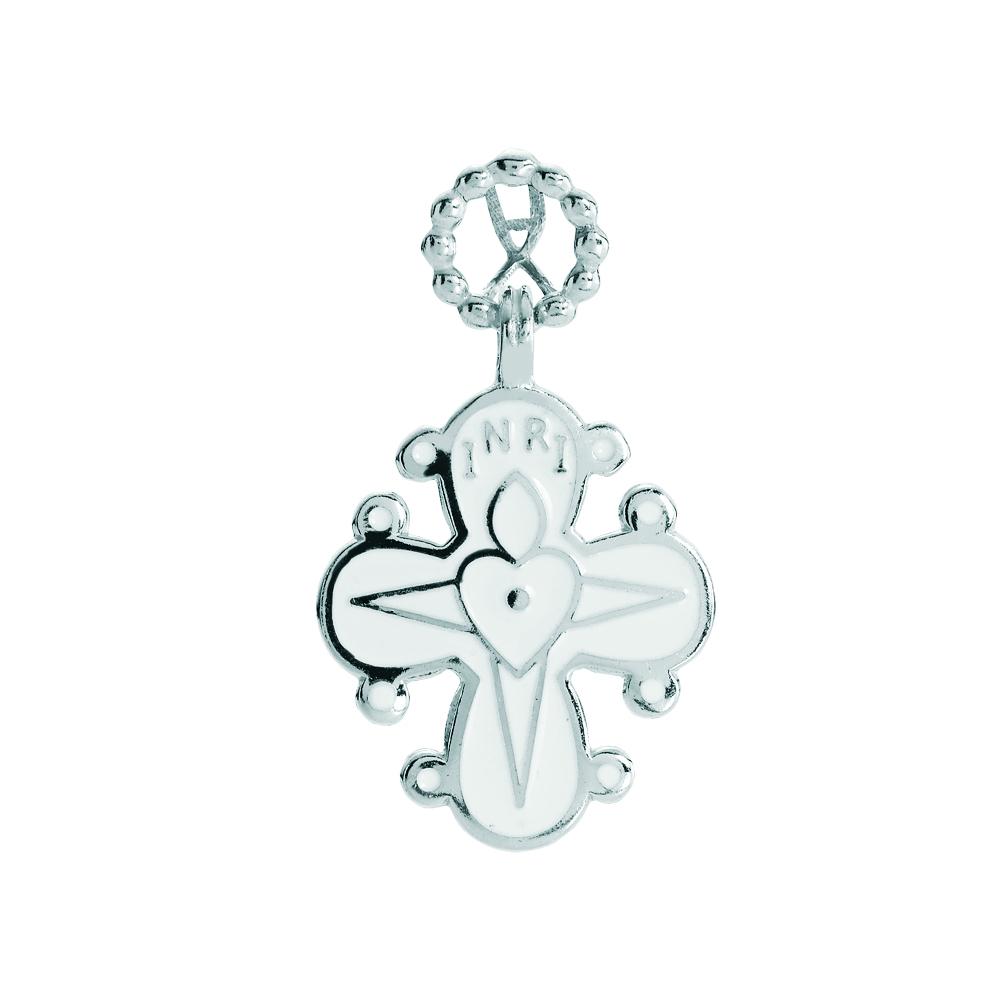 LUND Dagmarkors i sølv med hvid emalje 17x20 mm