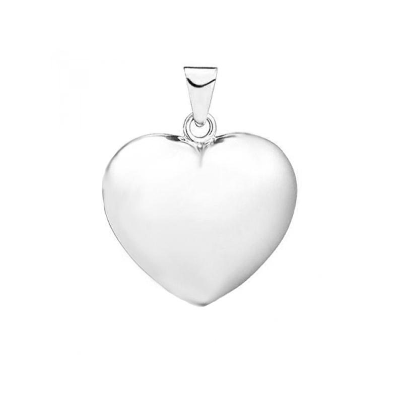 Hjerte vedhæng, 14 kt. hvidguld 10x11 mm