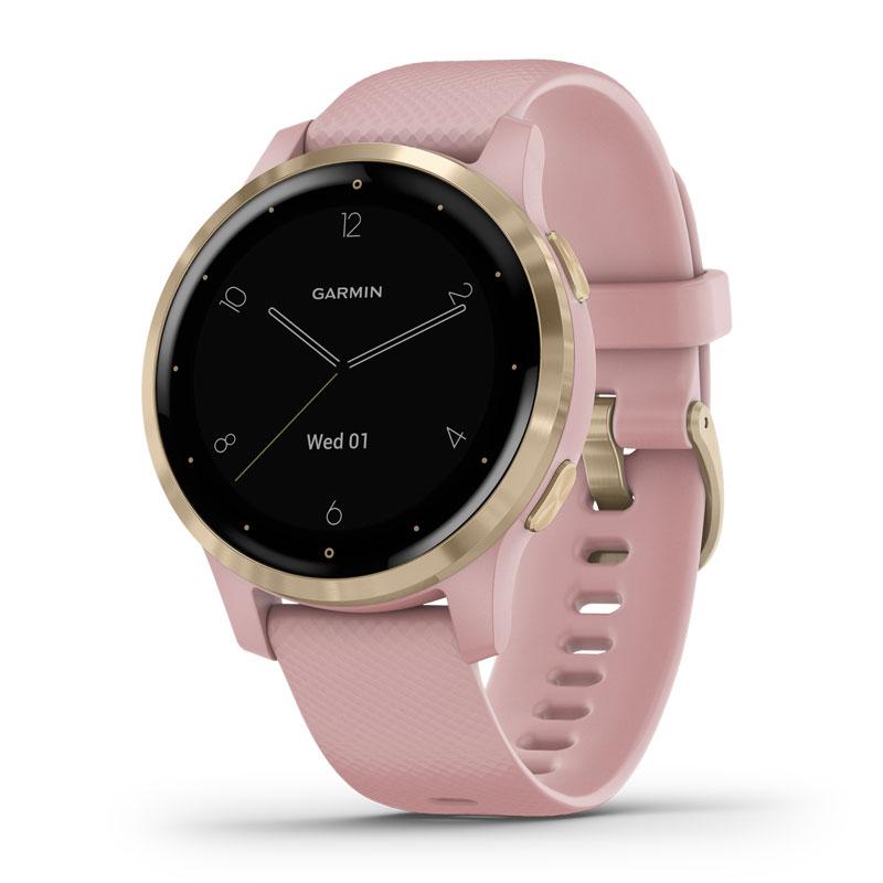 Image of   Garmin Vivoactive 4S smartwatch armbåndsur i guldfarvet stål med støvet rosa silikonerem