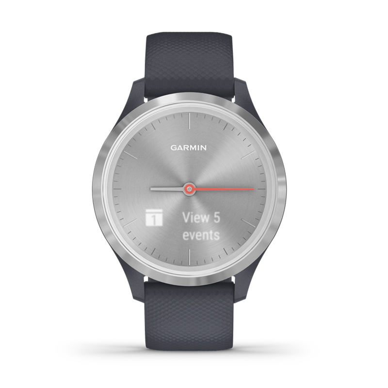 Image of   Garmin Vivomove 3S smartwatch armbåndsur i stål med granitblå silikonerem