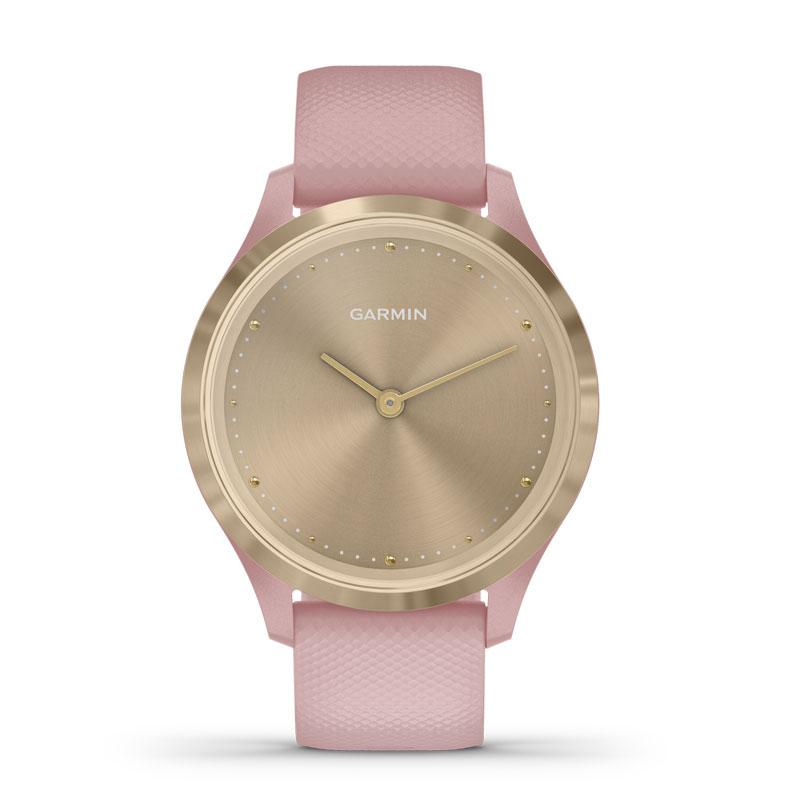 Image of   Garmin Vivomove 3S smartwatch armbåndsur i guldfarvet stål med støvet rosa silikonerem