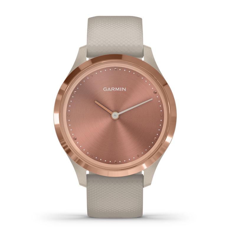 Image of   Garmin Vivomove 3S smartwatch armbåndsur i rosaguldfarvet stål med lys sand silikonerem