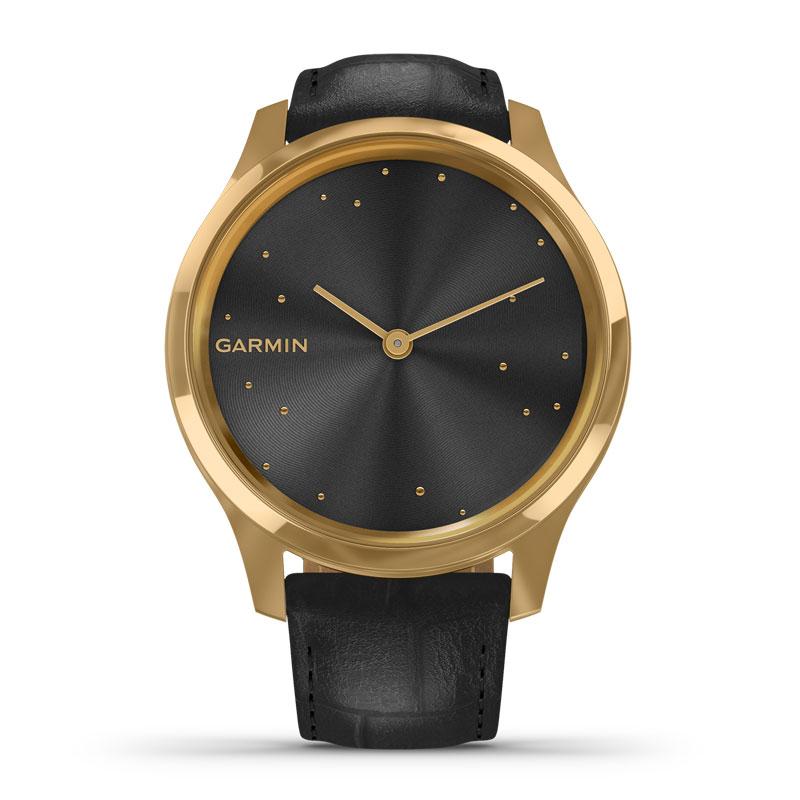Image of   Garmin Vivomove Luxe smartwatch armbåndsur i 24 kt guldfarvet stål med sort læderrem