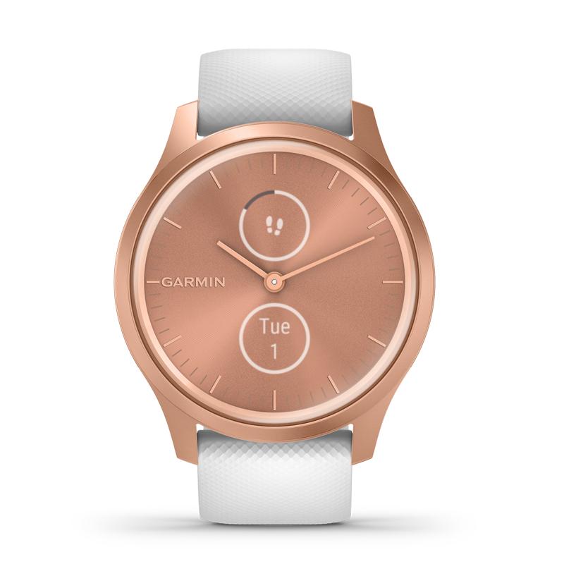 Image of   Garmin Vivomove Style smartwatch armbåndsur i rosaguldfarvet aluminium med hvid silikonerem
