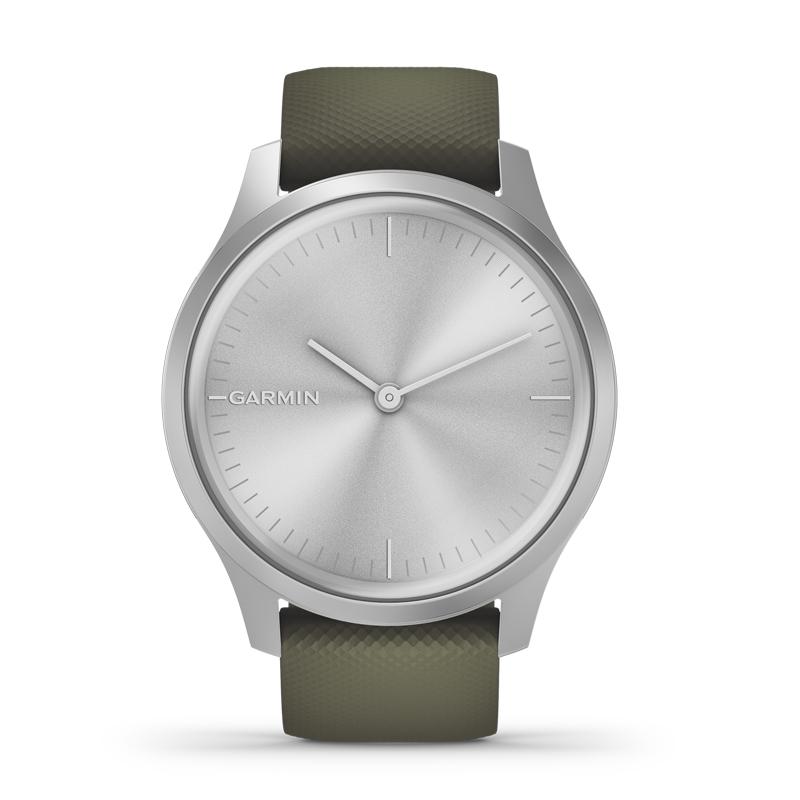 Image of   Garmin Vivomove Style smartwatch armbåndsur i aluminium med mos grøn silikonerem