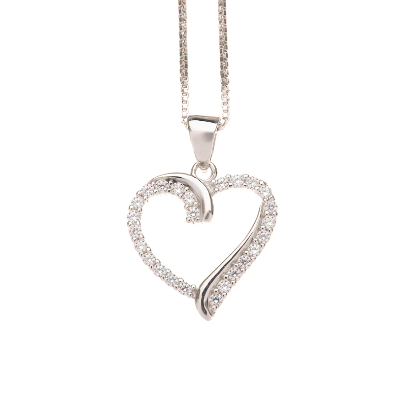 Sølv hjerte vedhæng med halskæde