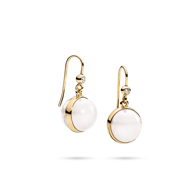 Julie Sandlau Lumina ørehængere i fuld med hvid månesten og diamant