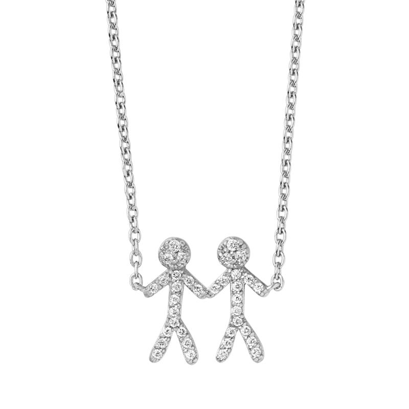 ByBiehl You and Me together 2 halskæde i sølv med cubic zirkonia thumbnail